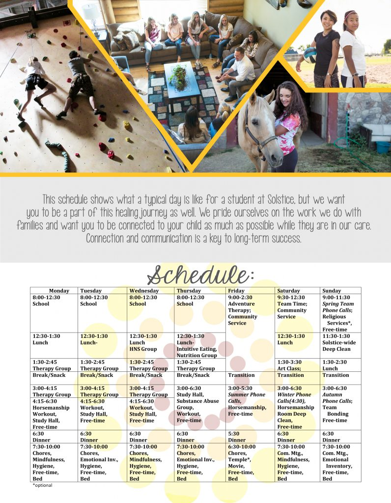 Schedule at Solstice